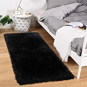 Noahas Luxury Fluffy Rugs Bedroom Furry Carpet Bedside Faux Fur Sheepskin Area Rugs Children Play Princess Room Decor Rug, 2ft x 4ft, Black