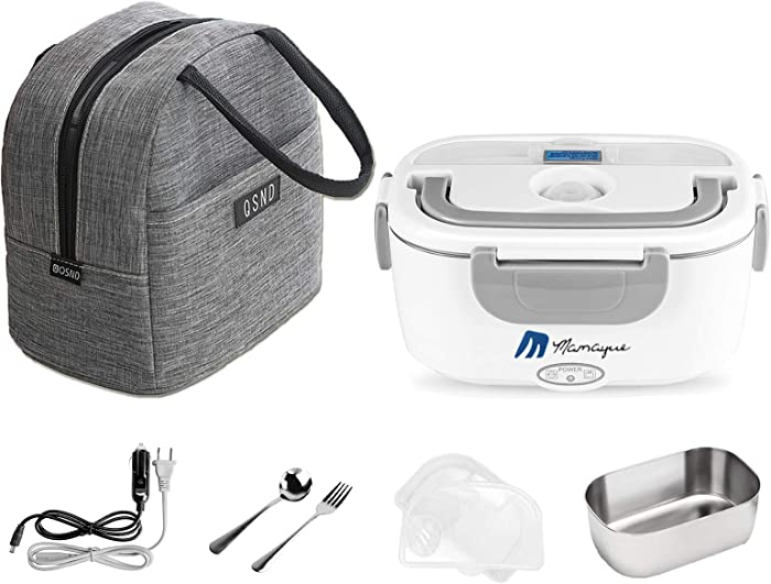 Electric Lunch Box 2 in 1, 110V/12V 24V 40W Portable Electric Food Warmer Heater Lunch Box with Food-Grade Stainless Steel Container and Insulated Lunch Bag,Leak proof(Grey)