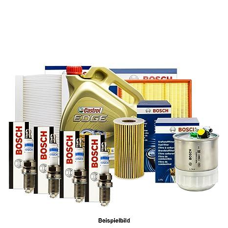 Bosch inspektions Juego 4 Filtro + Velas + 5L Castrol 5 W de 30