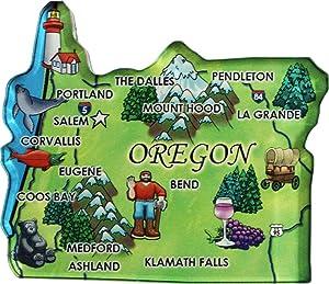 Flagline Oregon - Acrylic State Map Refrigerator Magnet