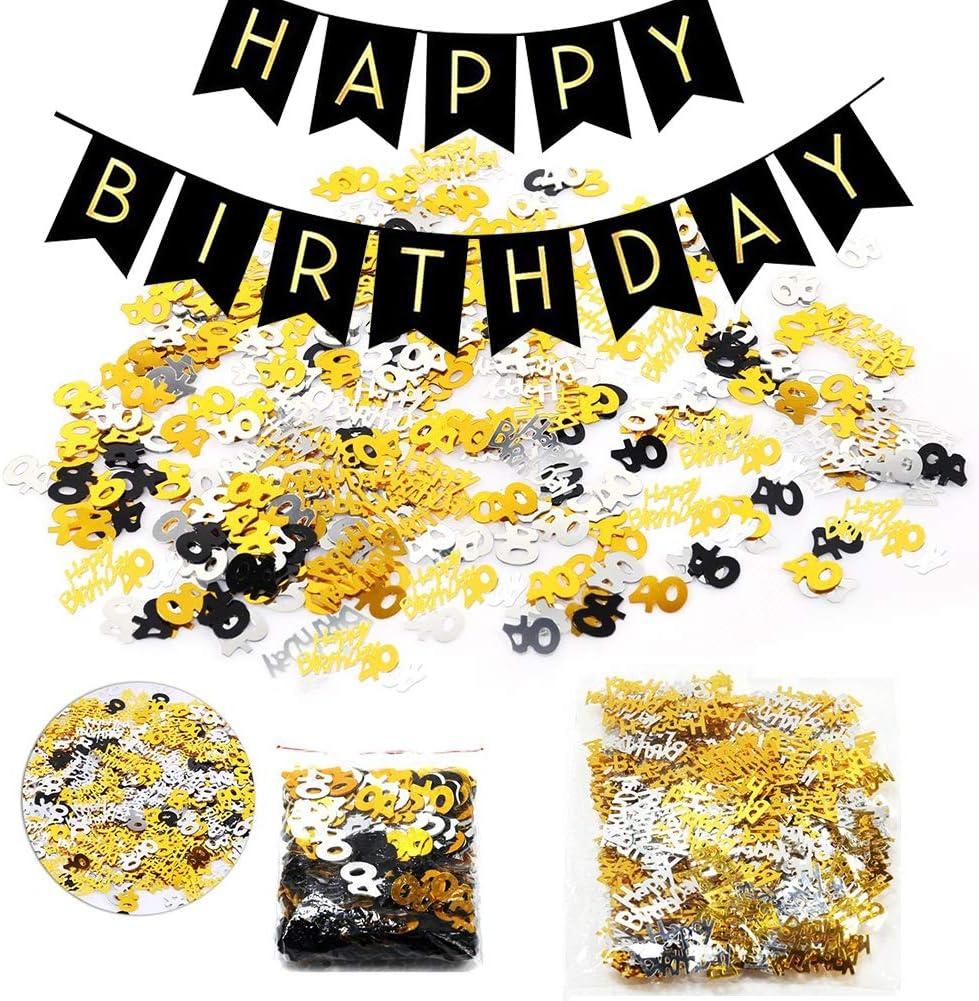 18 /& Geburtstag Konfetti Party Zubeh/ör Set H/ängende Strudel Swirl Deckendeko Zahl 18 in Gold Silber Schwarz 18.Geburtstag Dekoration Set Happy Birthday Banner