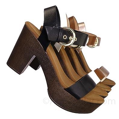 933fdea66da7 Delicious Sculpted Retro Wood Block Heel Sandal - Lightweight Clogs Platform  Shoe