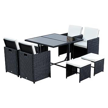 conjunto de muebles de jardn piezas de ratn con cojn para terraza mesa sillas y