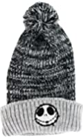 Nightmare Before Christmas Jack Skellington Toque Knit Beanie Skully Cuffed Gray