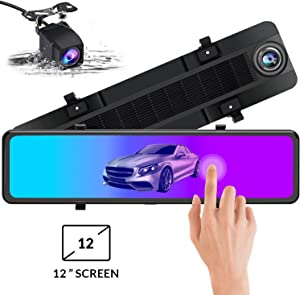 Mirror Dash Cam 1080P Front and Rear Dual Lens Backup Camera,12 Inch IPS Full Touch Screen Mirror Camera,170° Wide Angle and Night Vision