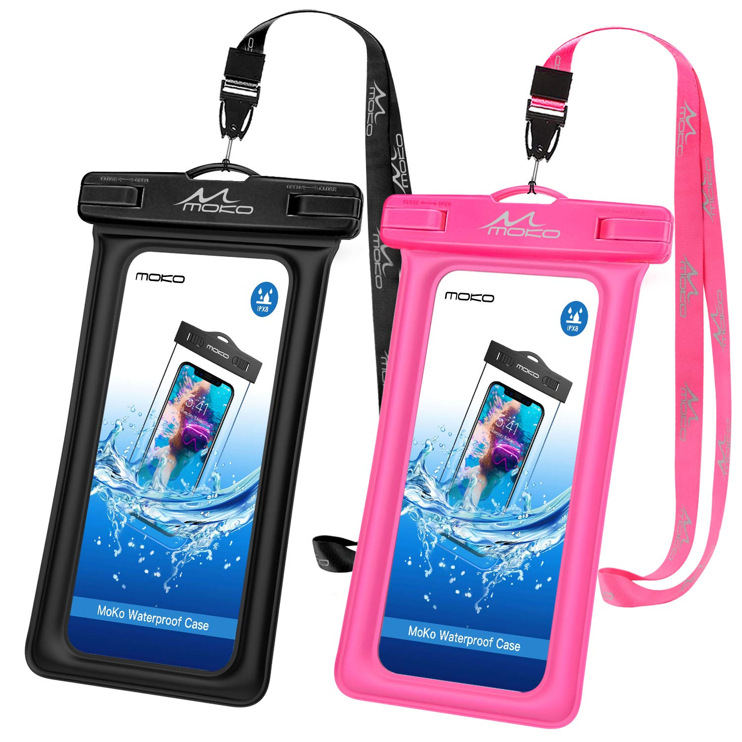 MoKo Floating Waterproof Phone Pouch [2 Pack], Floatable Phone Case Dry Bag with Lanyard Compatible with iPhone 11/11 Pro, X/Xs/Xr/Xs Max, 8/7/6 Plus, Samsung S10/S9/S8 Plus, S10e, A10E, Note 10/9/8 by MoKo
