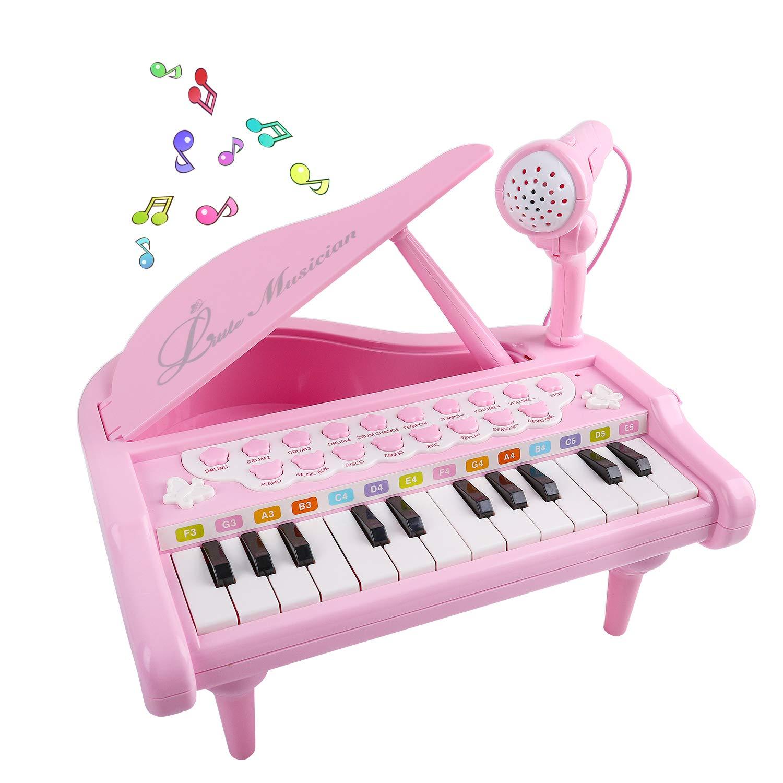 Mini Piano for 1 2 3 4 Year Old Girls, 24 Key Grand Keyboard Music ...