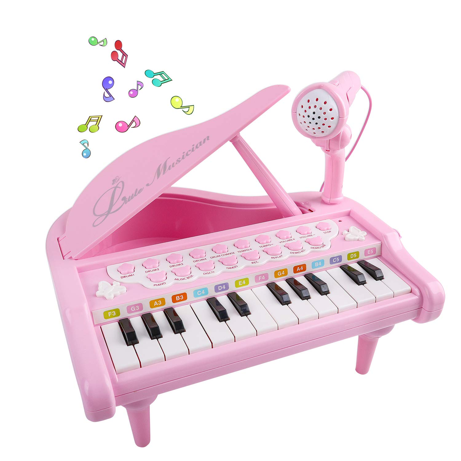 M SANMERSEN Piano Keyboard Toys for Kids, Birthday Gift 1 2 3 4 Year Old Girls 24 Key Piano Music Learning Keyboard Toys with Microphone Pink