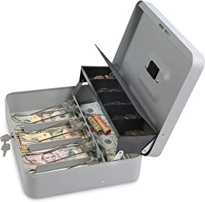 Cash Box with Key Lock - Steel Tiered Money Coin Tray with Lid Cover and Bill Slots   Portable Compact Safe   4 Keys   Gray Metal Lockable Storage Box for Change, Petty Cash, Fundraiser, Garage Sale