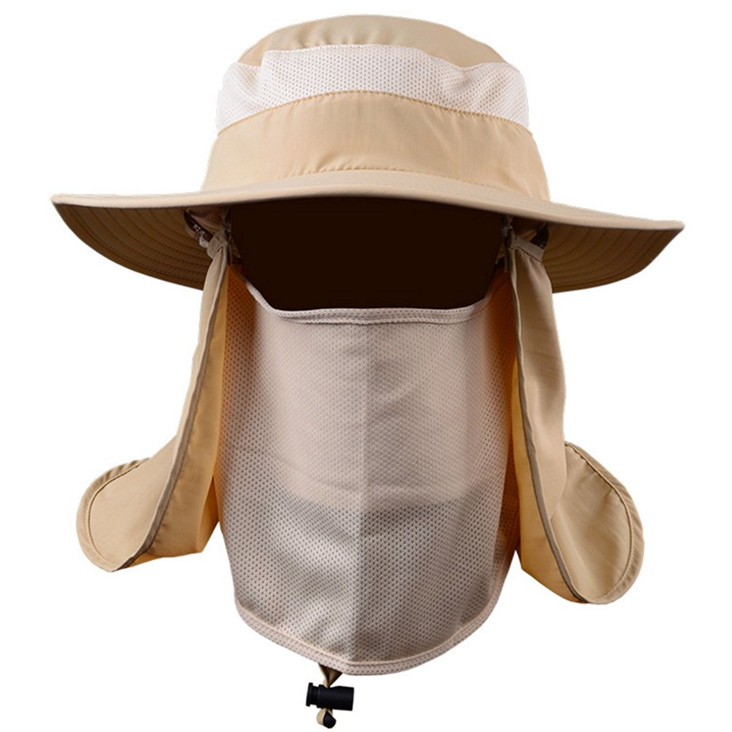 d81d1d58a3d Mens Outdoor Legionnaire Hat Camping Fishing Hunting Fully Sun Protection Hat  Cap with Flap Neck Protector Detachable Mesh Mouth Mask UPF 50+ Anti-UV  Summer ...