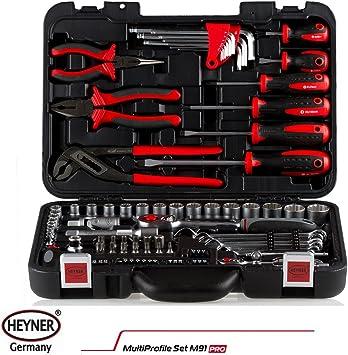 Heyner - Juego de herramientas profesionales con estuche (91 unidades, llaves de tubo, destornilladores accesorios): Amazon.es: Bricolaje y herramientas