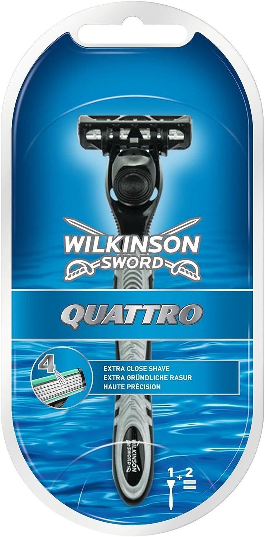 Wilkinson Sword Quattro - Maquina afeitar masculina de cuatro hojas con doble banda acondicionada
