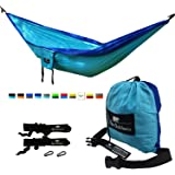 LAST CHANCE CLEARANCE - Koki Outdoors Lightweight Double Hammock - Heavy Duty Parachute Nylon - Tree Straps, Steel Carabiners and Carry Bag Included