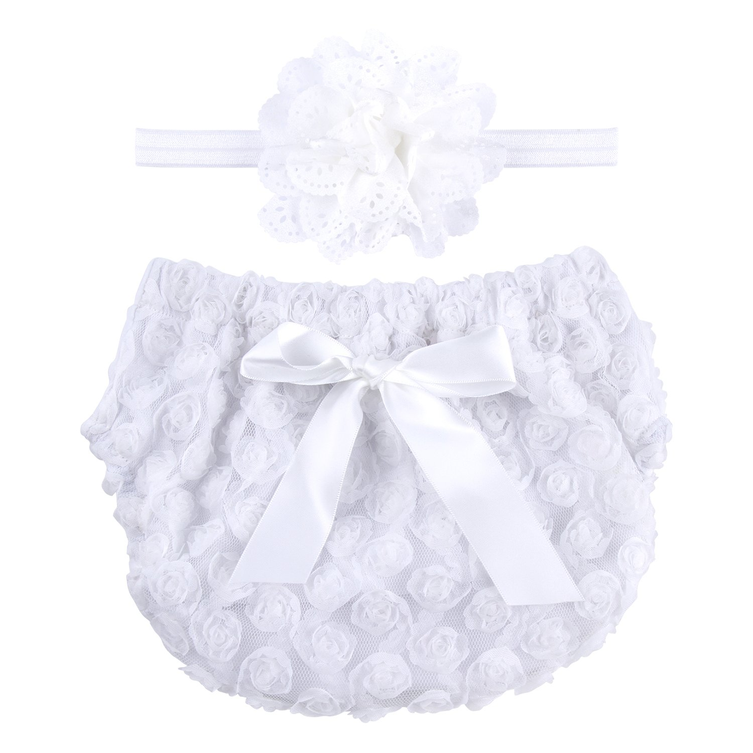 ICObuty Rose Ruffle Bloomer Diaper Cover for Baby Girls Toddlers (13-24m Large, White)