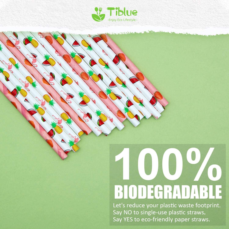 Pajitas de papel, 100 unidades, biodegradables, desechables, para ...
