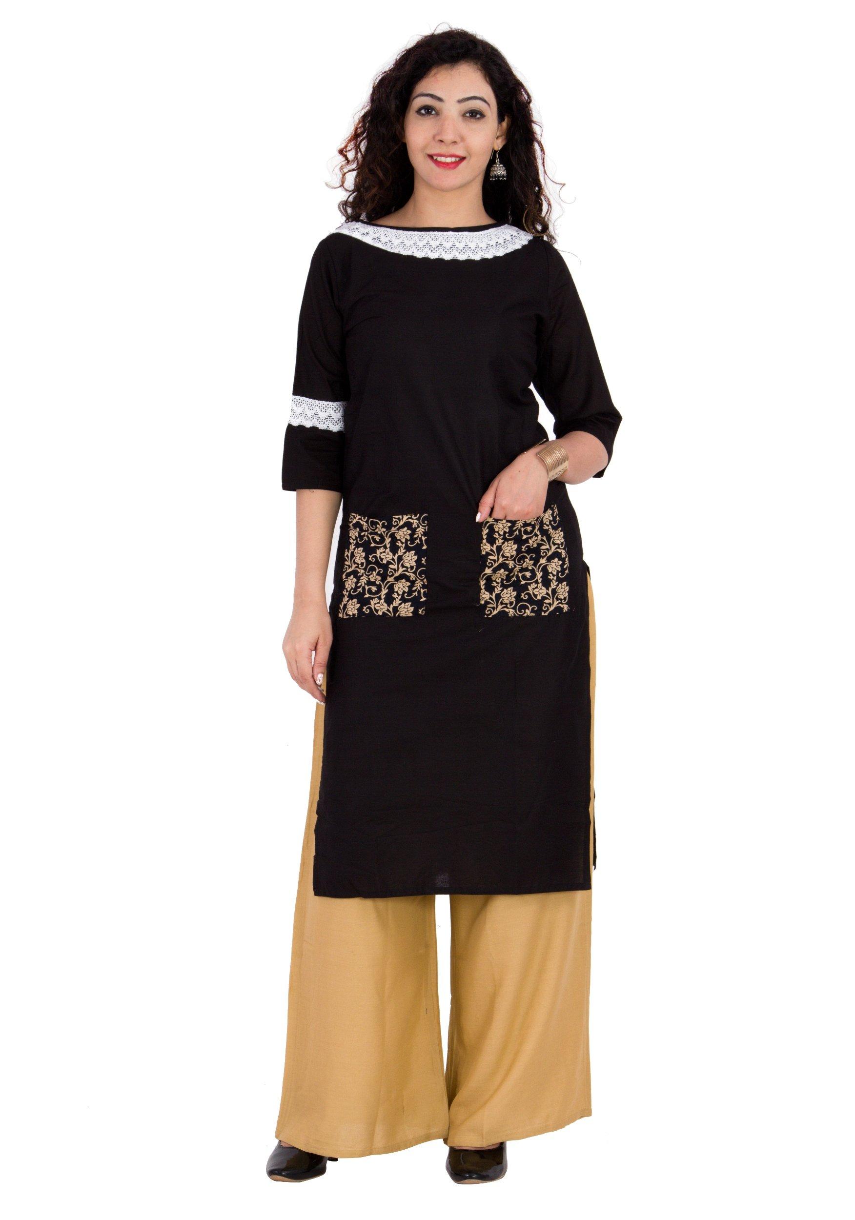 BrightJet Designer Black Cotton Lacework Women Fashion Kurti A-line Kurta Top Tunic with Rayon Solid Beige Plazzo Set Party Dress Casual (XXL)