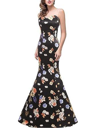 d9f1da9bf2b7 YSMei Womens Long Mermaid Evening Prom Dress Floral Print Crew Neck Party  Gowns Black 2