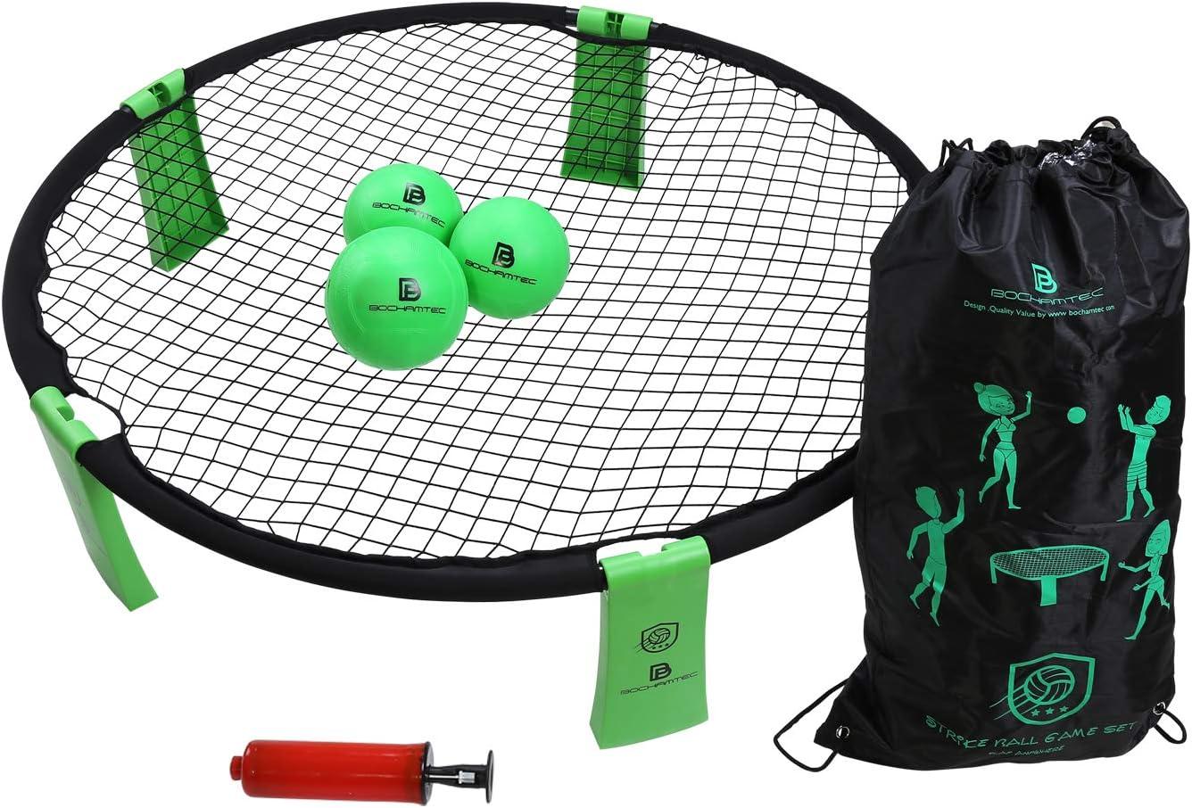 B BOCHAMTEC Strikeball 3 Ball Game Kit - Includes Playing Net, 3 Balls, Carring Bag, Rule Book- Game for Boys, Girls, Teens, Adults, Family(Yellow) … …