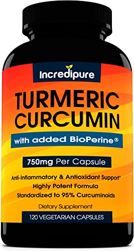 Turmeric Curcumin Supplement w BioPerine – 750mg Per Capsule, 120 Veggie Caps by Curcumin Incredipure