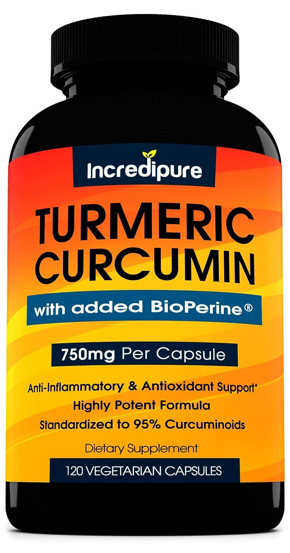 Turmeric Curcumin Supplement w BioPerine – 750mg Per Capsule, 120 Veggie Caps by Curcumin Incredipure