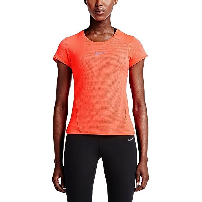 Nike Women's AeroReact Short Sleeve Running Shirt 719560 (Small, Hyper  Orange/Reflective Silver