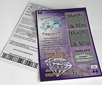 Customizable Lotto Replica Scratch Off Ticket Custom Prize Box Message  (Purple Diamonds Forever)
