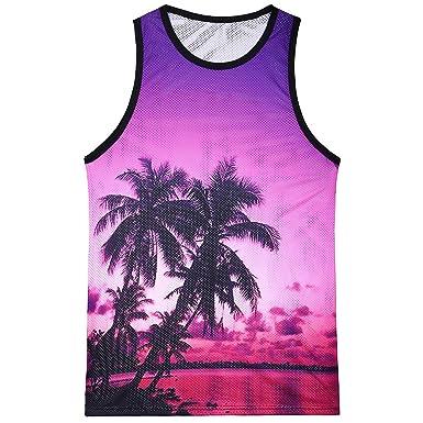 DEELIN Moda De Los Hombres Casual Suelto Impreso Hawaiano Paisaje ...