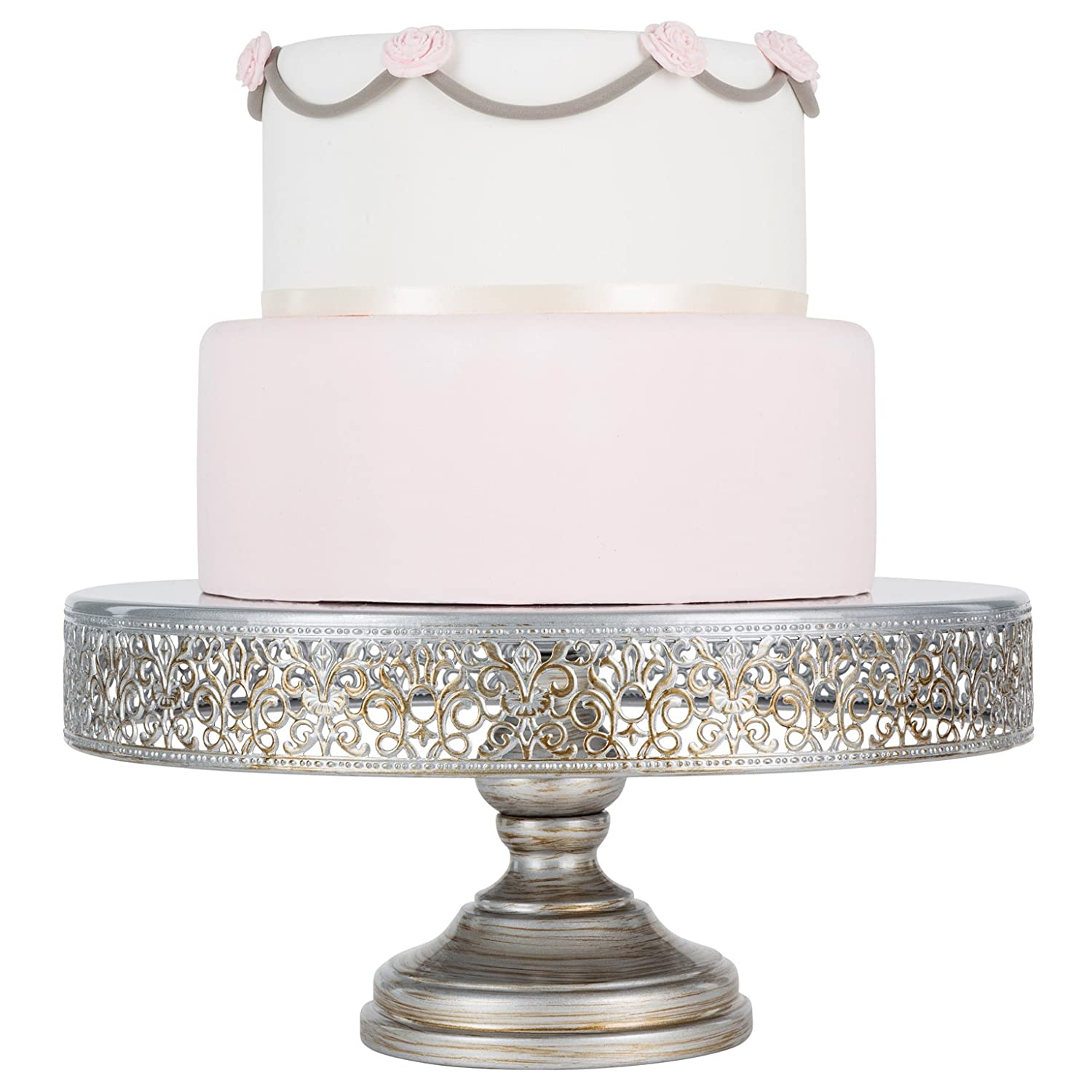 Amazon.com | Victoria Collection Antique Silver 14 Inch Cake Stand ...
