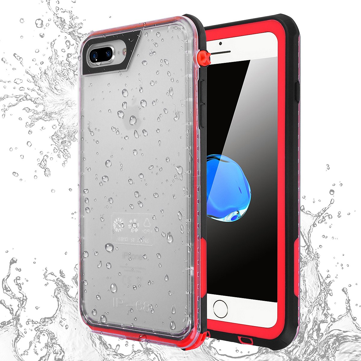 iPhone 8 Plus Waterproof Case, AICase IP68 Ultra Thin Full Sealed Shock/Snow/Dirty Proof Full-body with Built-in Screen Protector for Apple 5.5'' iPhone 8 Plus/7 Plus/6 Plus/6s Plus (Red)