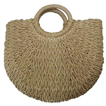 TENDYCOCO - Bolso de Mano de Mimbre con asa para Mujer (Color Caqui): Amazon.es: Hogar