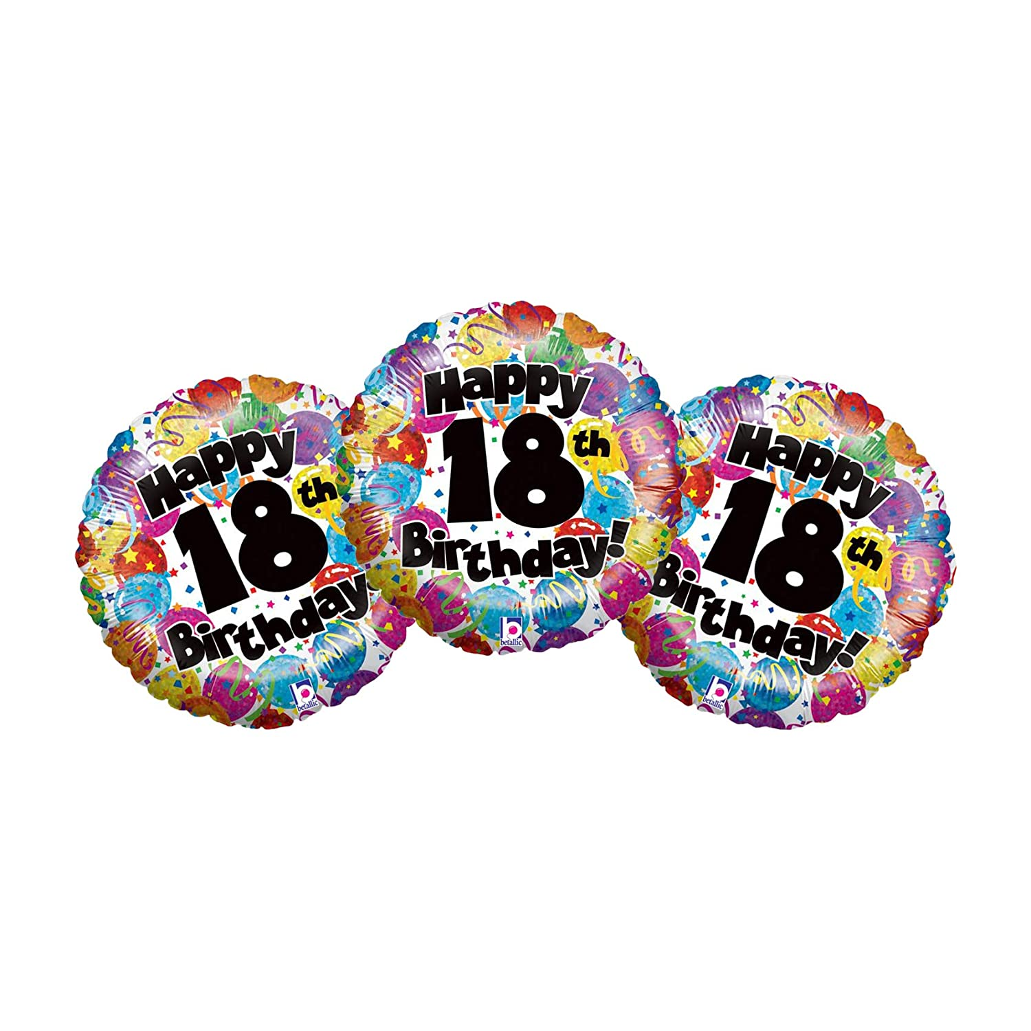 Set of 3 Happy 30th Birthday Colorful Confetti 18 Party Balloons