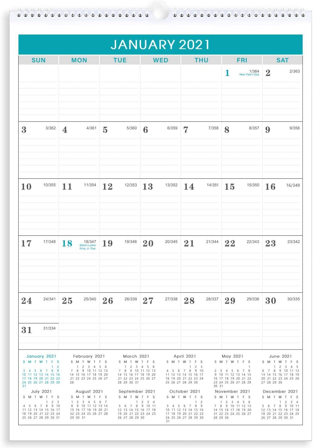 2022 Julian Calendar.Amazon Com 2021 2022 Calendar 18 Months 2021 2022 Wall Calendar With Julian Date 12 X 17 Jan 2021 Jun 2022 Premium Thick Paper Perfect For Organizing Planning Wirebound Ruled Daily Block Mint Office Products