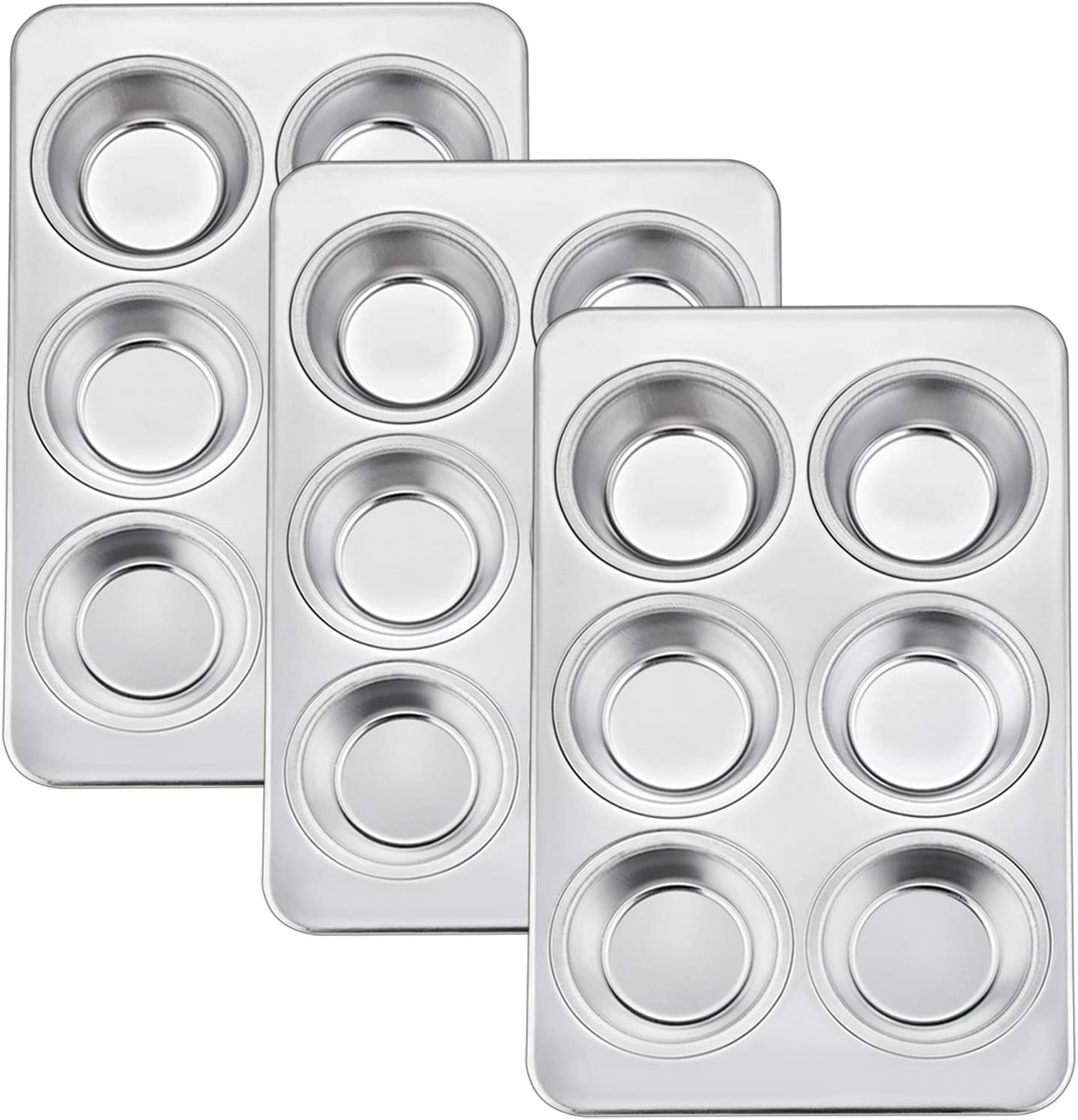 TeamFar Muffin Pan, 6 Cup Muffin Baking Tins Pans, Cupcake Pan Tray Set Stainless Steel for Baking Cakes Cornbread Tarts and More, Healthy & Non Toxic, Oven & Dishwasher Safe - Set of 3