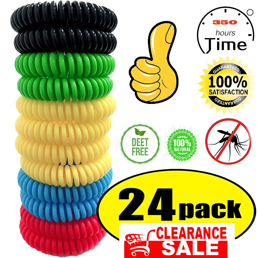 24 Pack Mosquito Bracelet,100% Natural Non-Toxic Bug Bracelet 350Hrs of Protection - for Kids,Women,Men