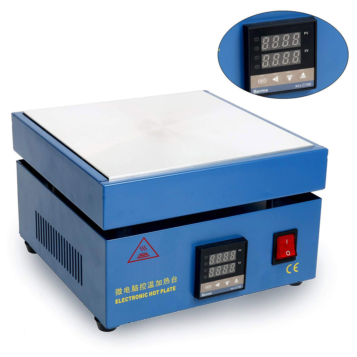 LED Microcomputer Electric Hot Plate Preheat Soldering Preheating Station Welder Hot Plate Rework Heater Lab 110V 800W 200X200mm Plate by YaeCCC