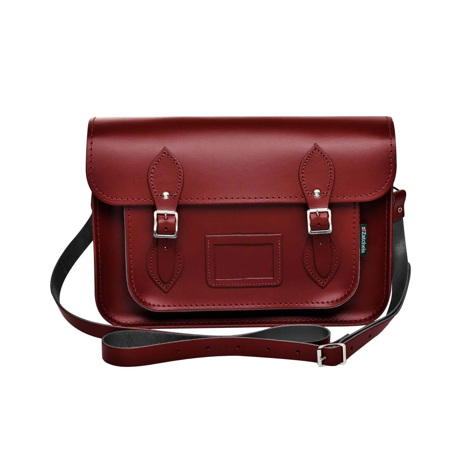Zatchels Womens/Ladies Handcrafted Leather Satchel Bag (British Made) (16in) (Oxblood Red)