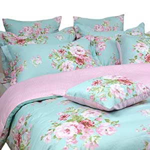 FADFAY Shabby Floral Duvet Cover Set Pink Grid Cotton Farmhouse Bedding with Hidden Zipper Closure 3 Pieces, 1duvet Cover & 2pillowcases,King/California King Size