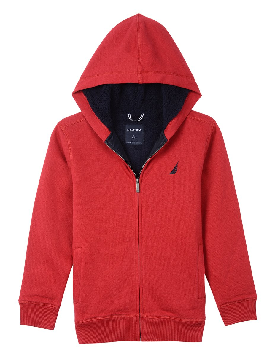 Nautica Boys' Costal Colorblock Hoodie with Sherpa,