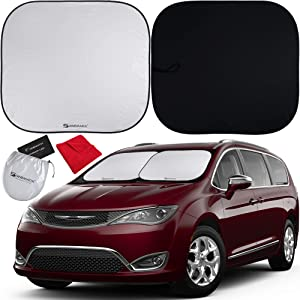 Shinematix 2-Piece Windshield Sun Shade - Foldable Car Front Window Sunshades for Most Sedans SUVs Trucks Tesla - Best 210T Reflective Material Blocks 99% UV Rays and Keeps Your Vehicle Cool (Large)