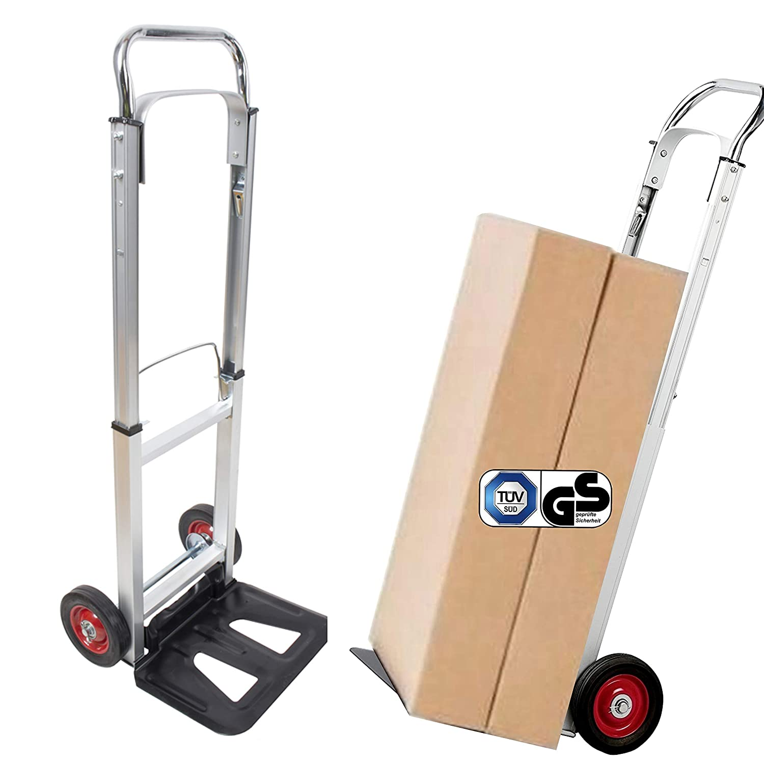 TÜ V/GS-certified Aluminium Transport Trolley, 90 kg Load, Foldable hand cart, Dolly, Luggage Cart, Hand cart, cart, moving cart Izzy Sport