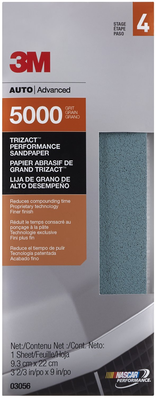 3M 03056 Trizact 3-2/3' x 9' 5000 Grit Performance Sandpaper 03056-20PK