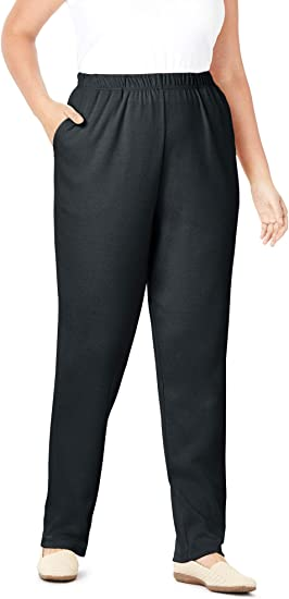 Womens 12-24 Back Elastic Waist Trouser Blue 30 Inch Inside Leg Wide Hip