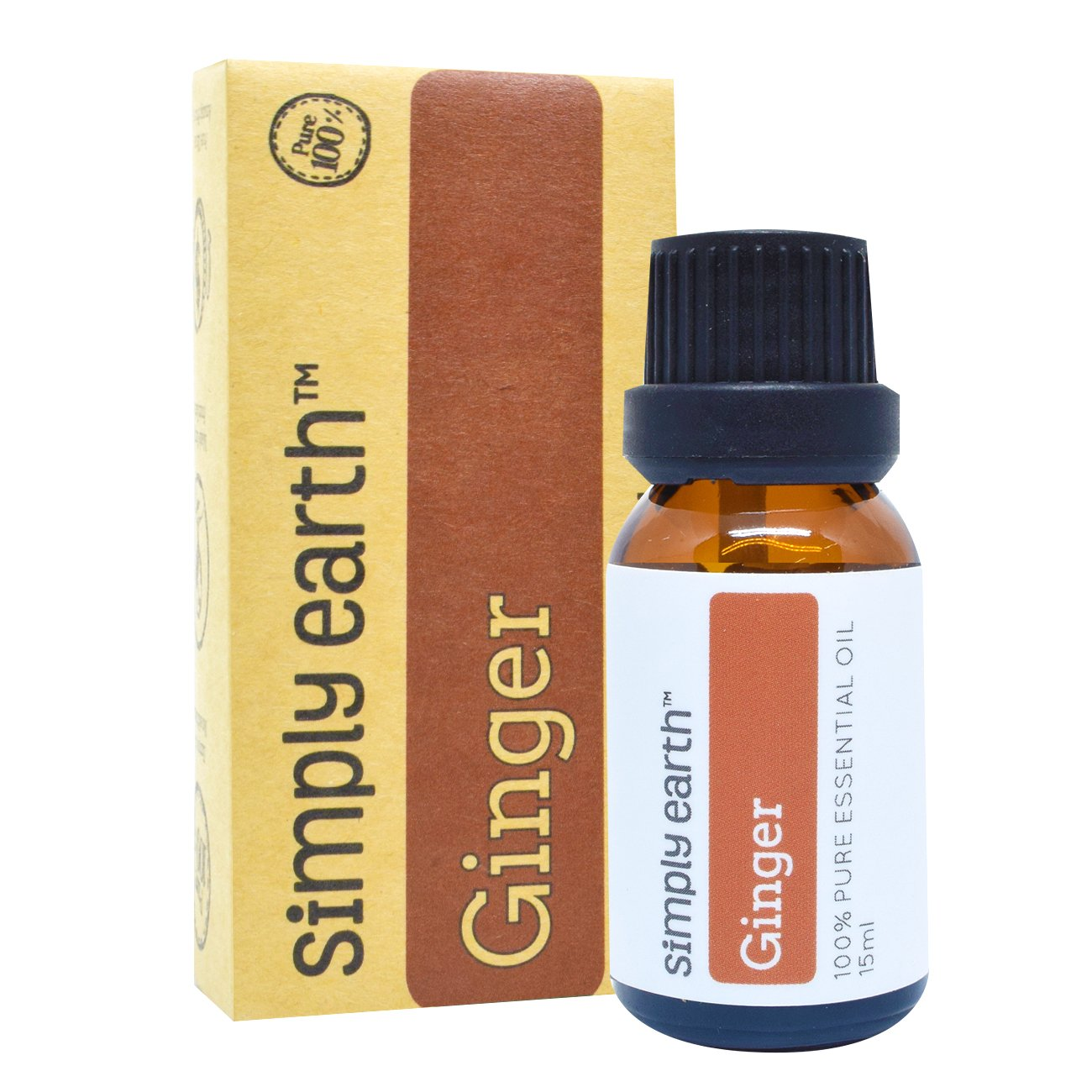 Ginger Essential Oil by Simply Earth (Ginger Root) - 15 ml, 100% Pure Therapeutic Grade
