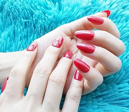Presione en las uñas falsas Cabeza redonda de uñas falsas Uñas falsas medianas Uñas falsas rojas