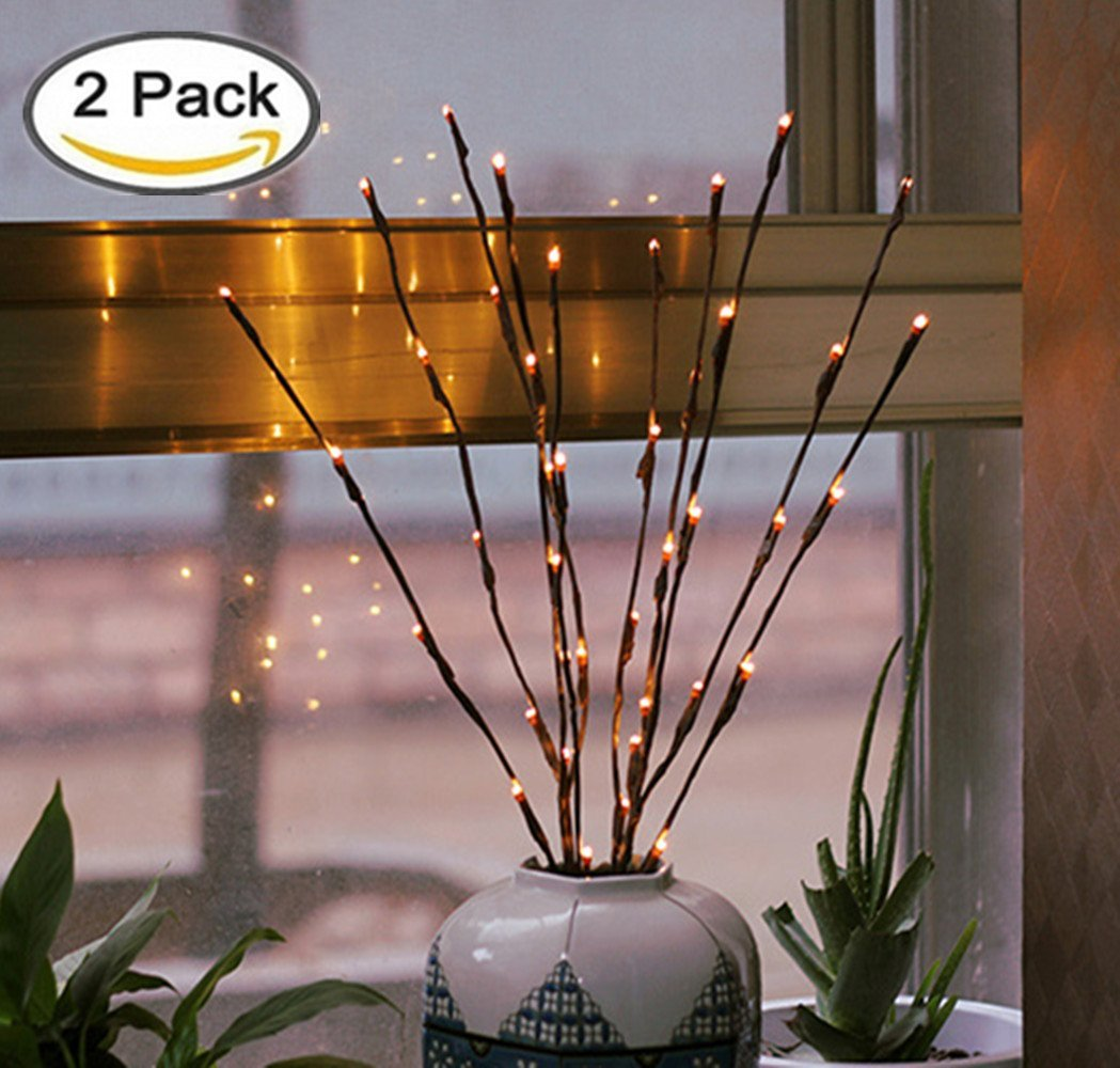 2 Pack Branch Lights - 30 inches 20 LED Battery Powered Decorative Lights Willow Twig Branch Tree Lights for Home Christmas Decoration Warm White
