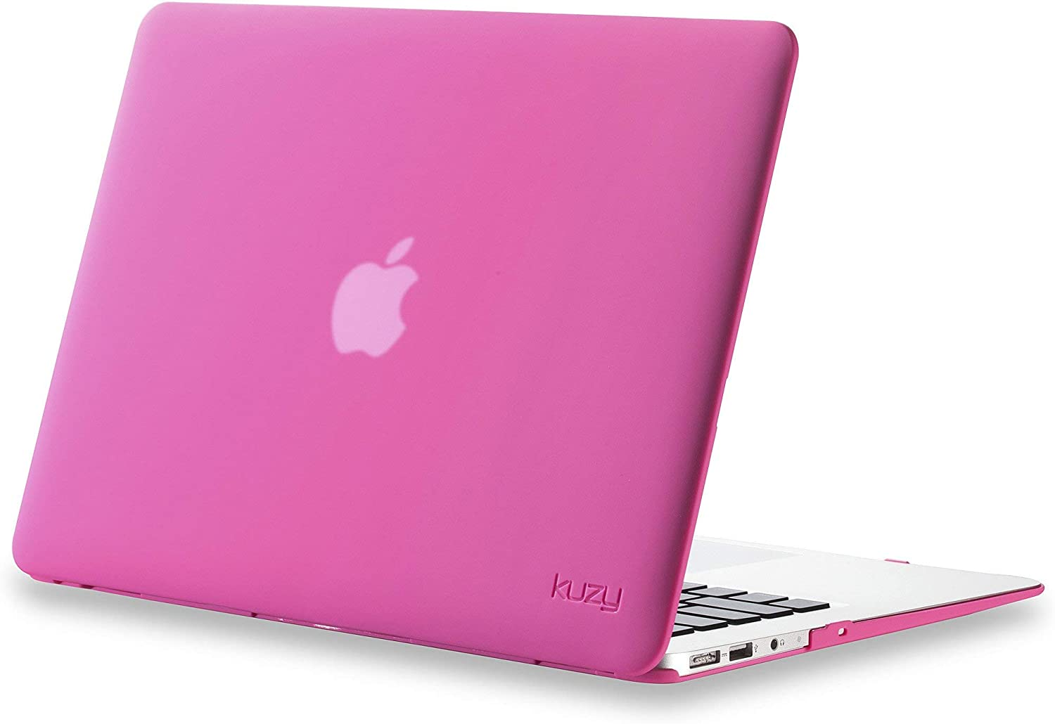 Kuzy MacBook Air 13 inch Case A1466 A1369 Soft Touch Cover for Older Version 2017 2016 2015 Hard Shell, Neon Pink