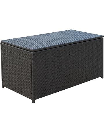 Outsunny Kissenbox Auflagenbox Gartenbox Polyrattan Garten Metall Braun L118 X B54 H59cm