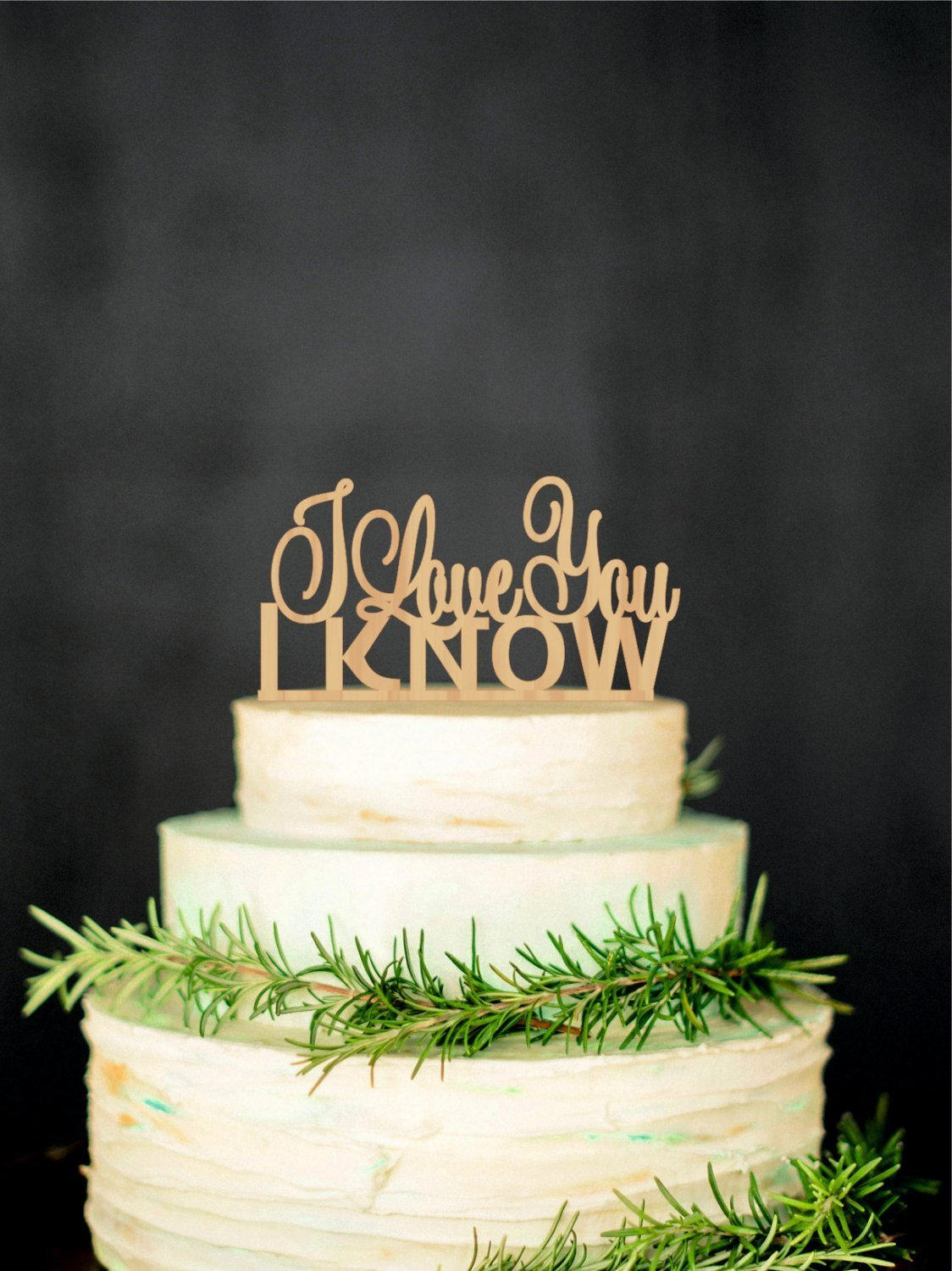WTA1018 WTA - I Love you I Know Wedding Cake Topper Star Wars Inspired Wood Cake Topper