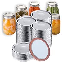 100 Pcs Regular Mouth Canning Lids for Mason Jars Split-Type Jar Lids Leak Proof and Secure Canning Caps with Silicone…