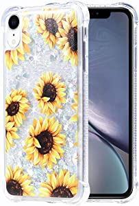 Flocute iPhone Xr Case, iPhone Xr Floral Glitter Case Flower Bling Sparkle Floating Liquid Soft TPU Cushion Luxury Fashion Girls Women Cute Case for iPhone Xr (Sunflower)